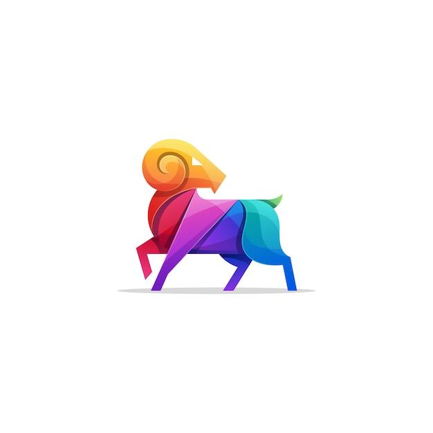 Abstrakte ziegen-bunte illustration logo template Premium Vektoren