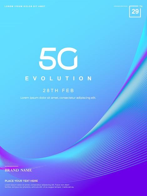 Abstrakter 5g hintergrund, 5g netzwerktechnologie Premium Vektoren