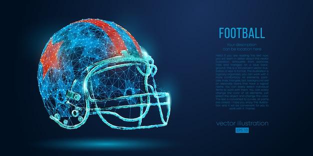 Abstrakter american-football-helm aus partikeln, linien und dreiecken. rugby. Premium Vektoren