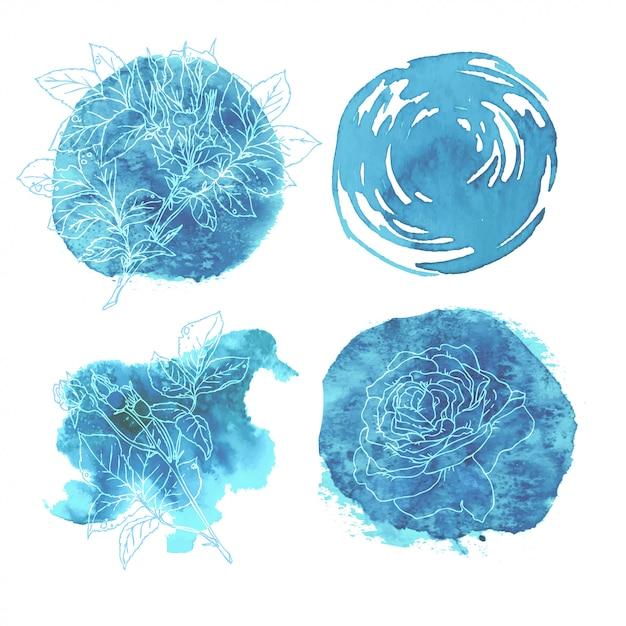 Abstrakter aquarellhintergrund rosen blau. aquarellelement für karte. Premium Vektoren