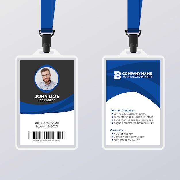 Abstrakter ausweis mit blauer und schwarzer schablone Premium Vektoren
