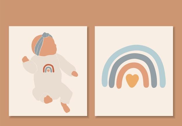 Abstrakter baby isolierter vektor, regenbogen-boho-druck Premium Vektoren