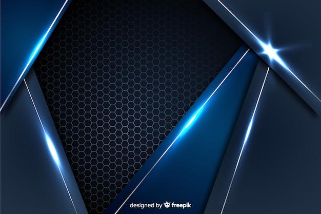 Abstrakter blauer metallischer hintergrund mit reflexion Kostenlosen Vektoren