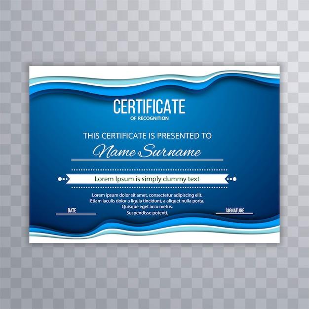 Abstrakter blauer zertifikatschablonenhintergrund Kostenlosen Vektoren
