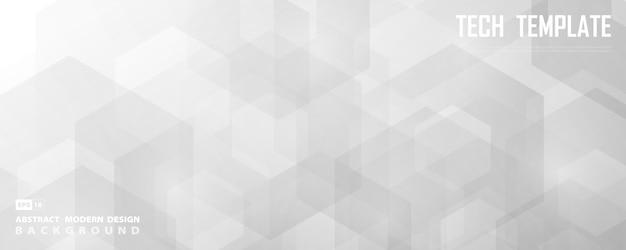 Abstrakter breiter weißer und grauer sechseckiger technologieentwurf des dekorationshintergrunds. Premium Vektoren