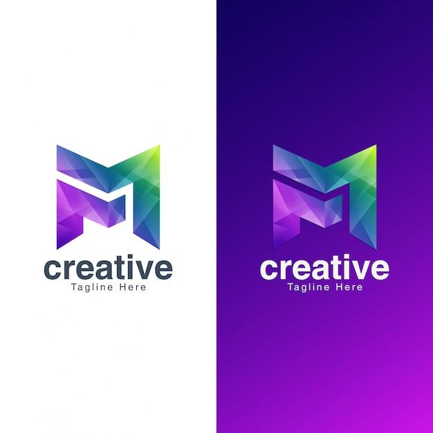 Abstrakter buchstabe m logo for media and entertainment Premium Vektoren