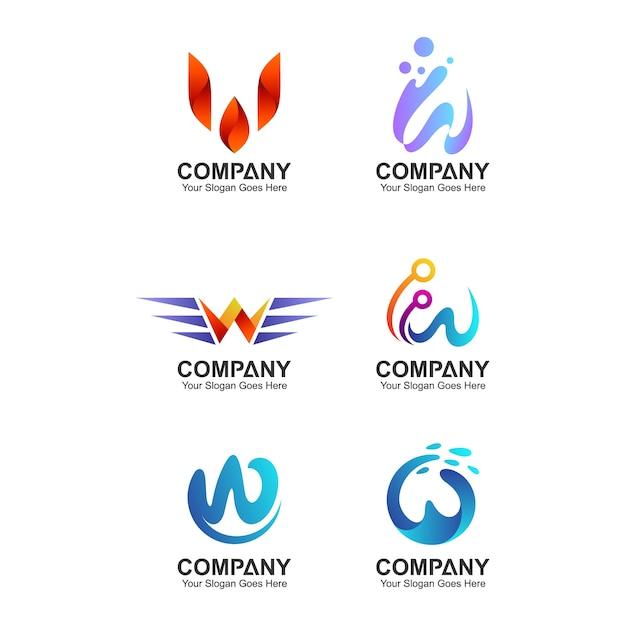 Abstrakter buchstabe w-logo-design-vorlage, firmenidentität-sammlung, anfangslogo des buchstaben w Premium Vektoren