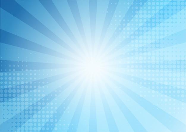 Abstrakter comic-hintergrund-cartoon-stil des blauen hintergrunds. sonnenlicht. Premium Vektoren