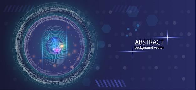 Abstrakter digitaler begriffsfingerabdruck-technologiesicherheitshintergrund. Premium Vektoren