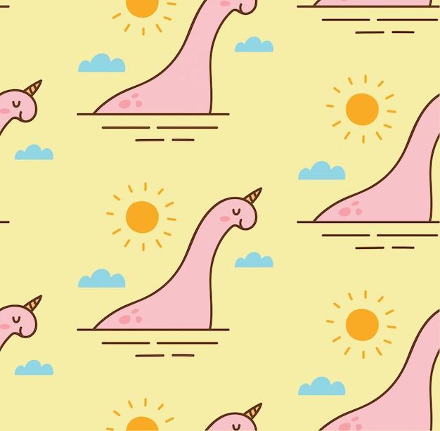 Abstrakter dinosaurier in einem nahtlosen muster des sees Premium Vektoren