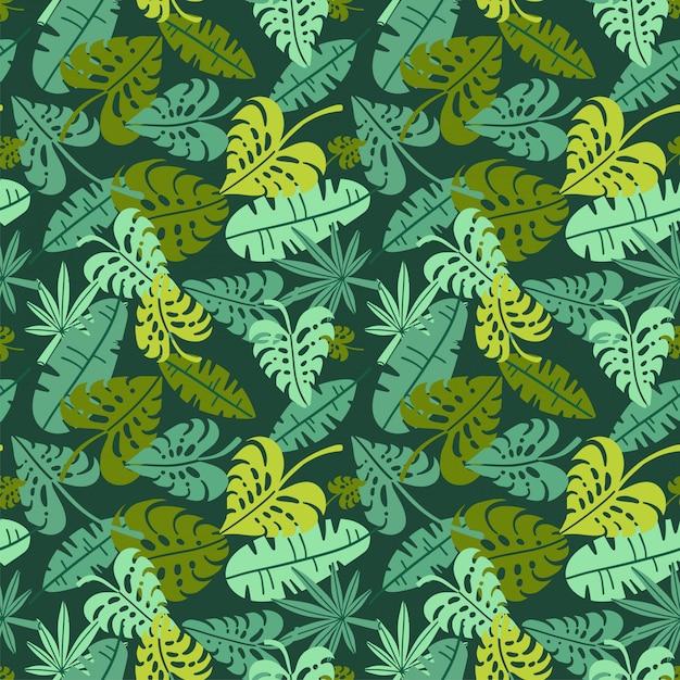 Abstrakter dschungeldruck mit silhouetten des laubes der paradiesischen insel. flaches nahtloses blumengrünmuster, inspiriert von tropischer natur und pflanzen mit form von palmblättern. sommerhintergrund Premium Vektoren