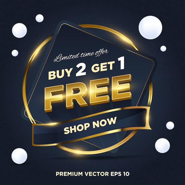 Abstrakter dunkelblauer goldverkauf zeitlich begrenztes angebot kaufen sie 2 kostenlose 1-tags-designs Premium Vektoren