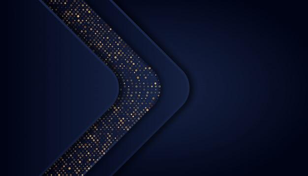 Abstrakter dunkelblauer hintergrund mit goldenen linien und punkten Premium Vektoren