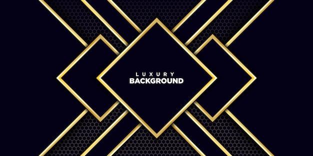 Abstrakter dunkelblauer papercut maserte hintergrund mit dem glänzen des goldenen bienenwabenmusters Premium Vektoren