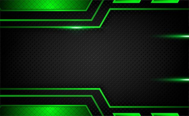 Abstrakter dunkelmetallischer grüner schwarzer rahmentechnologie-innovationshintergrund mit funkeln und lichteffekt Premium Vektoren
