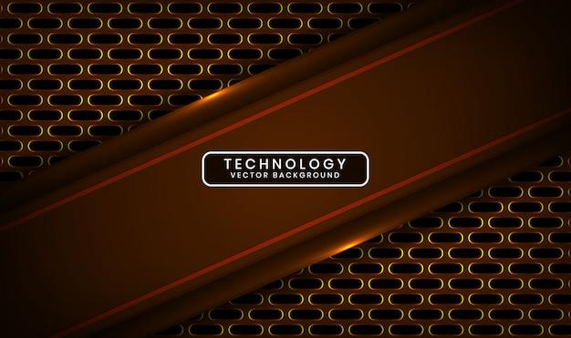 Abstrakter dunkler 3d-technologiehintergrund mit ovaler metallischer überlappungsschicht mit gelber lichteffektdekoration Premium Vektoren