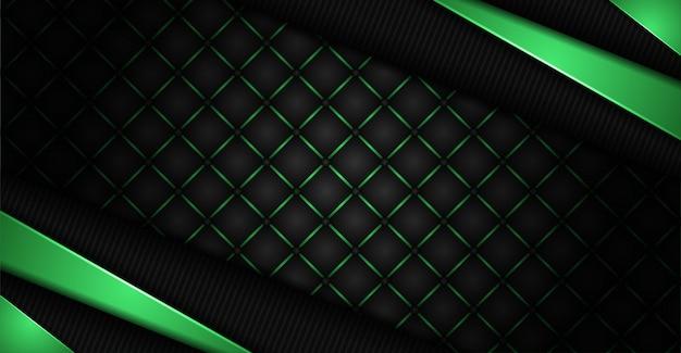 Abstrakter dunkler hintergrund mit grünen formlinien glühende kombination Premium Vektoren