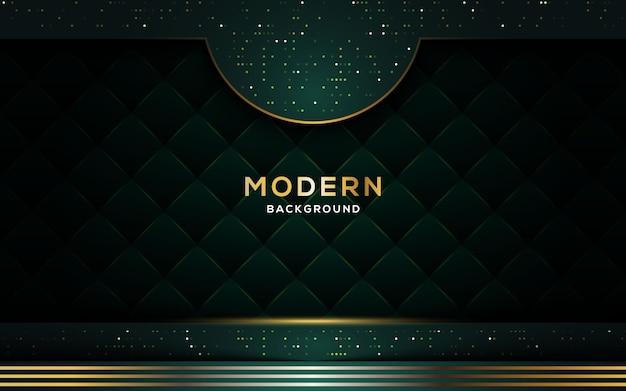 Abstrakter dunkler luxushintergrund mit goldenen linien und funkeln. Premium Vektoren