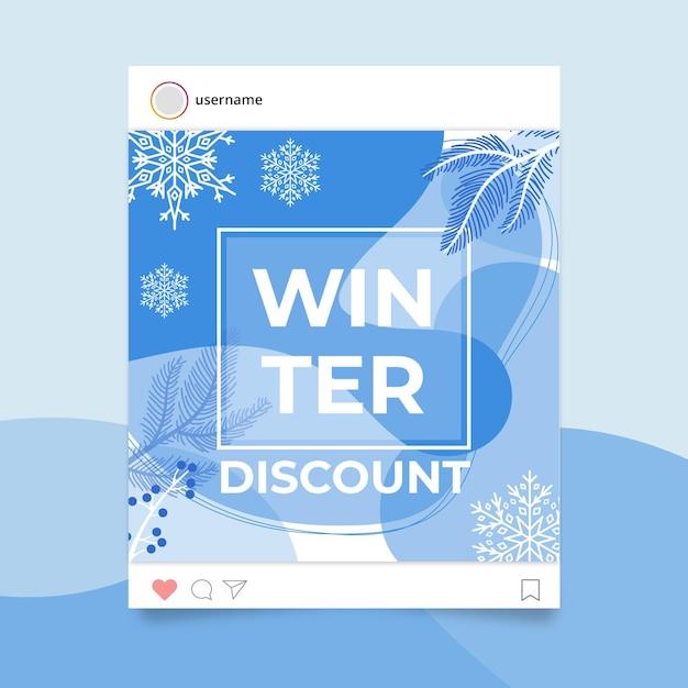 Abstrakter einfarbiger winter-instagram-beitrag Kostenlosen Vektoren
