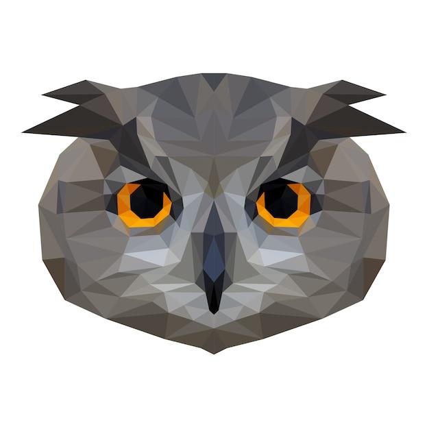 Abstrakter eulenkopf. low poly owl portrait. Premium Vektoren