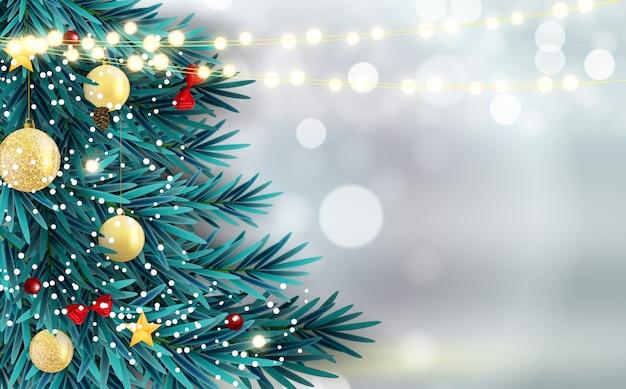 Abstrakter feiertags-neues jahr-und frohe weihnacht-hintergrund mit realistischem weihnachtsbaum Premium Vektoren