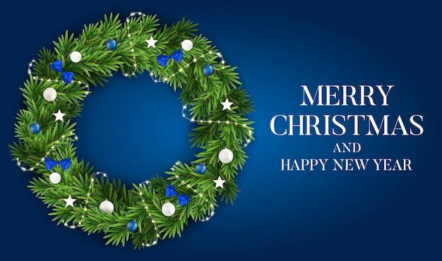 Abstrakter feiertags-neues jahr-und frohe weihnacht-hintergrund mit realistischem weihnachtskranz Premium Vektoren