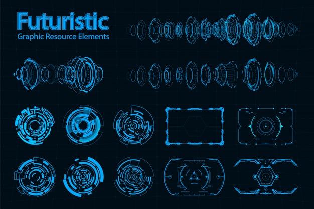 Abstrakter futuristischer element-satz Premium Vektoren