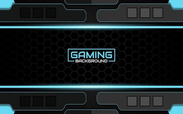 Abstrakter futuristischer schwarzer und blauer spielehintergrund Premium Vektoren