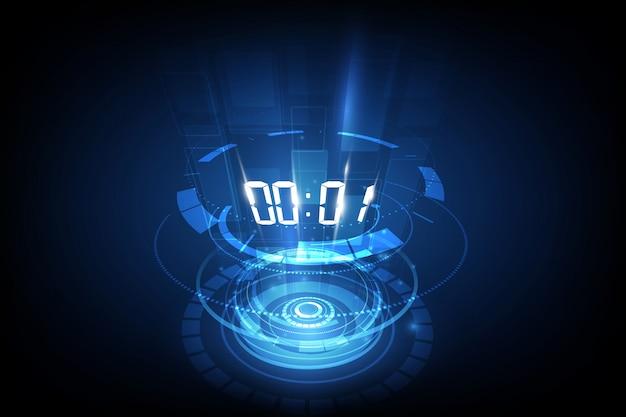 Abstrakter futuristischer technologie-hintergrund mit digital-zahltimer Premium Vektoren
