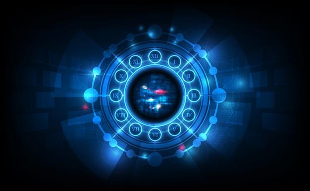 Abstrakter futuristischer technologie-hintergrund mit uhrkonzept und zeitmaschine Premium Vektoren