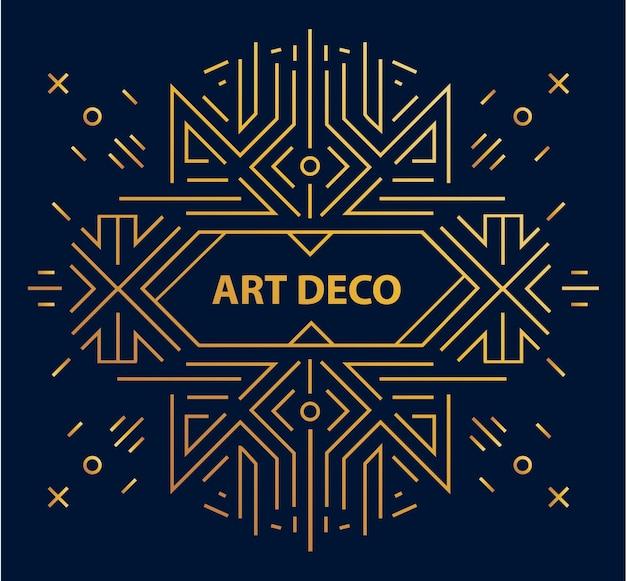 Abstrakter geometrischer art-deco-rahmen, rand, hintergrund. linearer trendiger stil. Premium Vektoren