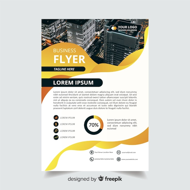 Abstrakter geschäftsflieger mit foto und informationen Kostenlosen Vektoren