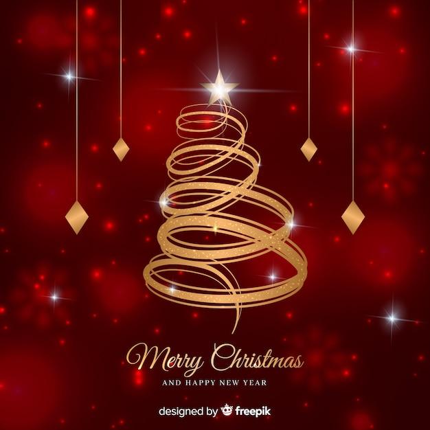 Abstrakter goldener weihnachtsbaum Kostenlosen Vektoren