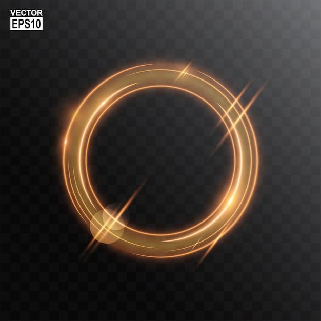 Abstrakter goldkreis-heller rahmenhintergrund Premium Vektoren