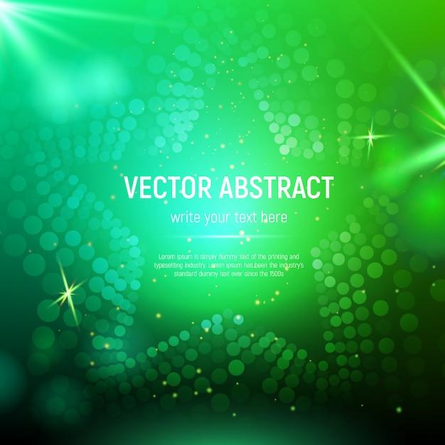 Abstrakter grüner sternhintergrund der masche 3d mit kreisen, blendenflecken und glühenden reflexionen. bokeh-effekt Premium Vektoren
