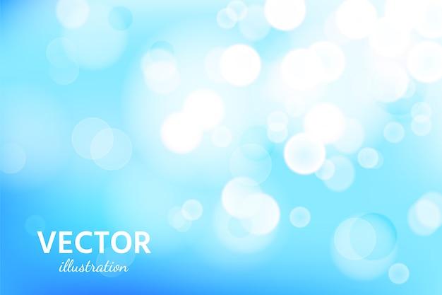 Abstrakter hintergrund des blauen himmels mit bokeh lichteffekt. Premium Vektoren