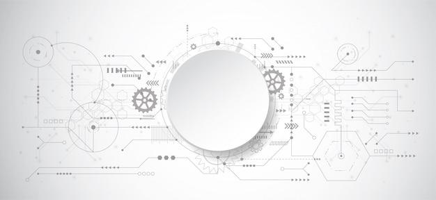 Abstrakter hintergrund des designs 3d mit technologiepunkt und -linie Premium Vektoren