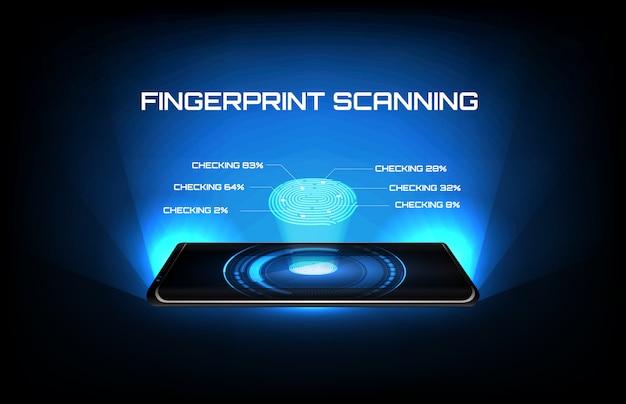 Abstrakter hintergrund des intelligenten mobiltelefons der futuristischen technologie mit fingerabdruck-scan-identitätsprüfung Premium Vektoren