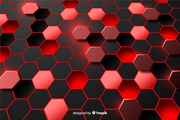 Abstrakter hintergrund des roten und schwarzen hexagons Premium Vektoren