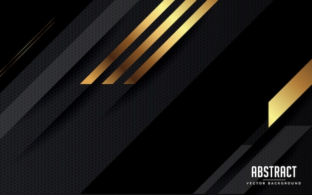 Abstrakter hintergrund geometrisches schwarzes und grau und goldfarbe modern Premium Vektoren