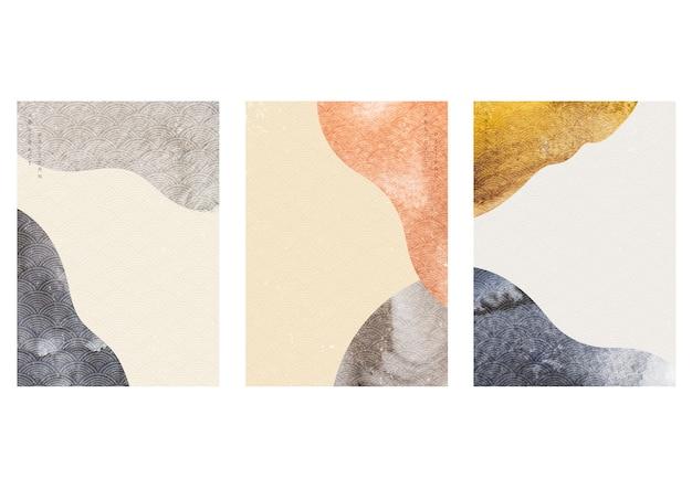 Abstrakter hintergrund mit aquarellbeschaffenheit. kurvenelement mit japanischem wellenmuster im weinlesestil. Premium Vektoren