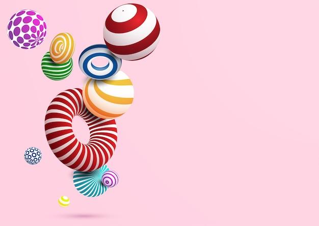 Abstrakter hintergrund mit buntem dekorativem ball und ring. vektor eps10. Premium Vektoren