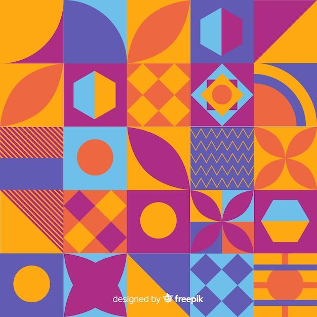 Abstrakter hintergrund mit buntem geometrischem mosaik Kostenlosen Vektoren