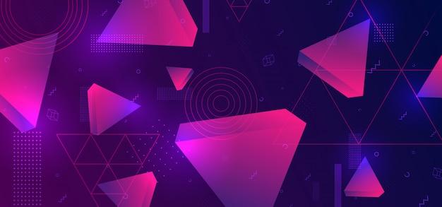 Abstrakter hintergrund mit dem dreieck 3d geometrisch Premium Vektoren