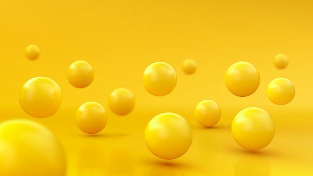 Abstrakter hintergrund mit dynamischen 3d-kugeln. gelbe blasen. von glänzenden kugeln. modernes trendiges bannerdesign Premium Vektoren