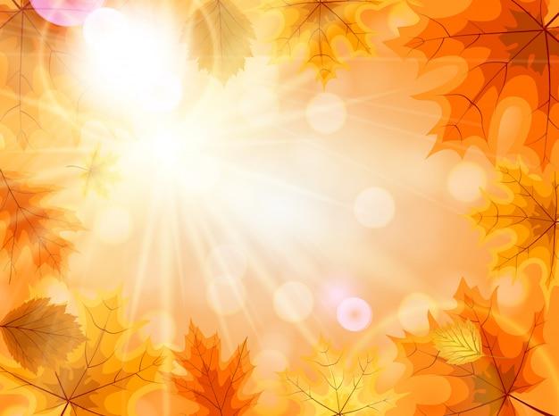 Abstrakter hintergrund mit fallendem autumn leaves Premium Vektoren