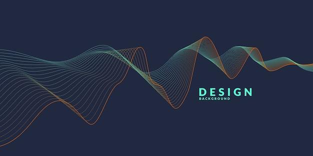 Abstrakter hintergrund mit farbigen dynamischen wellen, linien und partikeln. abbildung geeignet für Premium Vektoren