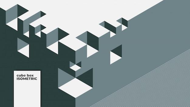Abstrakter hintergrund mit isometrischen elementen eines würfelkastens. mit retro- oder weinlesefarben. Premium Vektoren