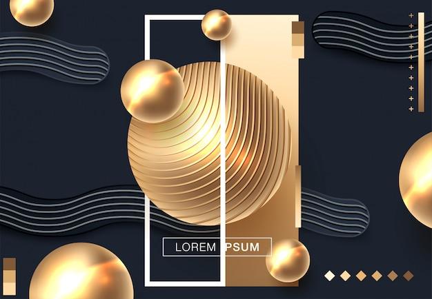 Abstrakter hintergrund mit kugeln im gold und in der schwarzen farbe Premium Vektoren