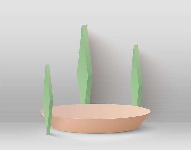 Abstrakter hintergrund mit podium und grünen geometrischen formen auf einem hellen hintergrund. Premium Vektoren